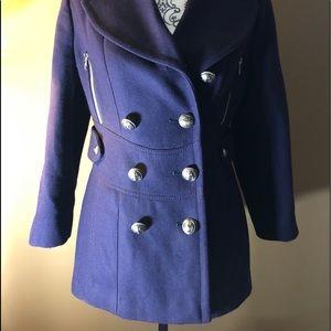 Miss Sixty blue short pea coat. Size S
